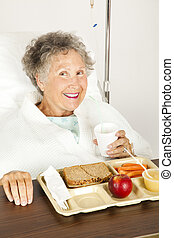 Nutritious Hospital Lunch - Senior woman in the hospital,...