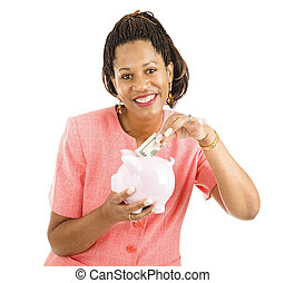 Time to Save - Beautiful African-american business woman...