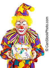 Clown Blows Birthday Candle - Funny clown blows out a candle...