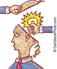 Stolen idea - Two hands grabbing an idea from an human head....