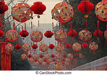 Lucky Red Lanterns Chinese Lunar New Year Decorations Ditan...