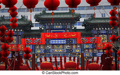 Ornate Chinese Gate Lucky Red Lanterns Chinese Lunar New...