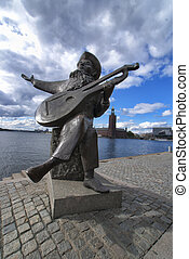 Evert Toube with Stadhus - Evert Taube statue with Stadhus...