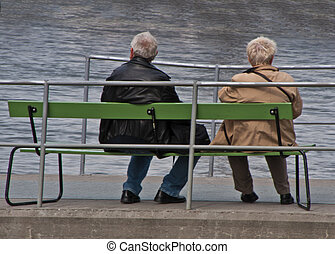 couple on bench watching. - Great location to watch harbor...