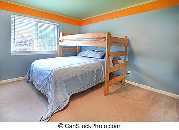 Bedroom with simple bed and blue walls