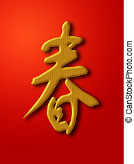 Chinese New Year Spring Calligraphy Gold on Red