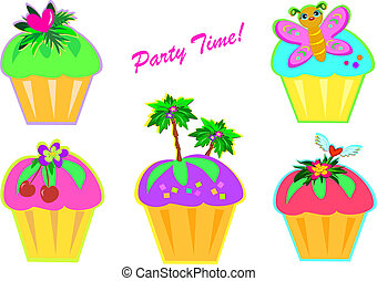 Mix of Party Time Cupcakes