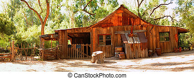 Old Western Cabin - Old rustic and abandoned cabin in the...