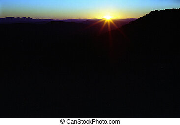 Dark Sunset - Sunset in Arizona over the Tonto rim