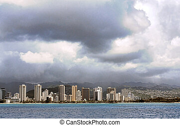Storm Approaching Honolulu - Storm approaching waikiki beach...