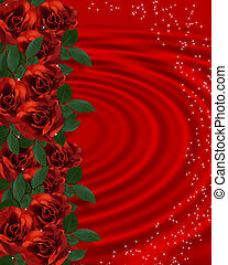 Valentine border Romantic Red Roses