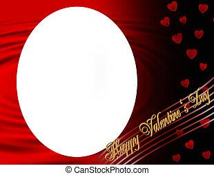 oval, marco,  Valentines, día, feliz