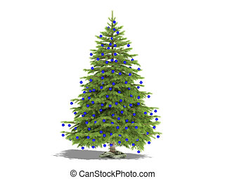 Christmas Tree - Christmas tree with blue decoration balls...