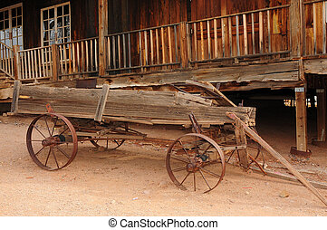 Old Wagon - Old broken down wooden wagon in a ghost town
