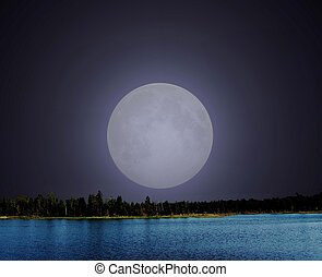 Moonrise Lake - Moon rising over a mountain lake