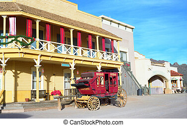 Out West - Old western style building and old stage coach