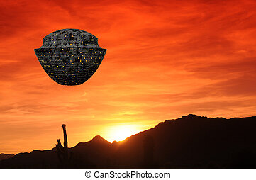 Spaceship Desert Sunset - Illustrated spaceship in desert...