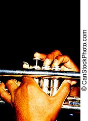 Trumpet player. - African american male trumpet player...