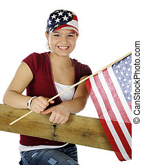 Teen Patriot - A pretty young teen in casual garb wearing a...