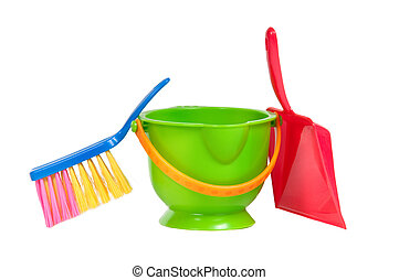 Group of tools for cleaning (dustpan, bucket and brush)...