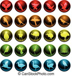 Bird icons - Set of twenty five icons for various bird...