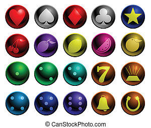 Shiny gambling icons - Set of shiny icons with gambling...