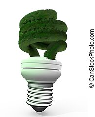 Save Energy - energy saving lamp with green grass
