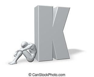 sitting man leans on uppercase letter k - 3d illustration