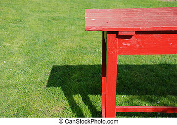 red self made table - self made table of planks coloured red...