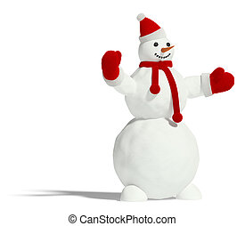 Snowman on a white background Its 3D image