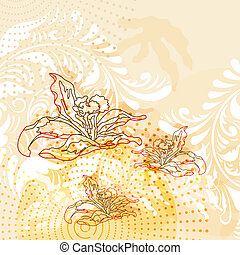 vector modern grunge background with lilies with space for...