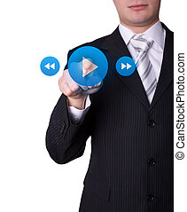 Man pressing media player button