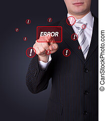 Man pressing ERROR button
