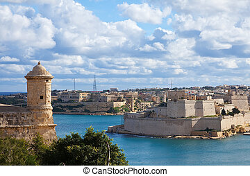 View of Valletta, Malta - View of Valletta with knight's...