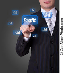 Man pressing profit button