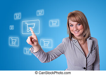woman pressing shopping cart icon - woman hand pressing...