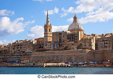 View of Valletta with Our Lady of Mount Carmel church dome,...