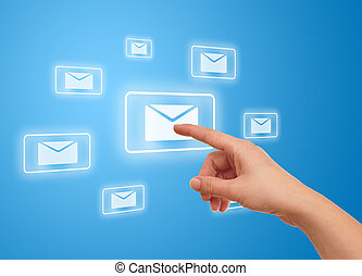 hand pressing e-mail icon - woman hand pressing e-mail icon