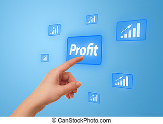 hand pressing Profit button - woman hand pressing Profit...