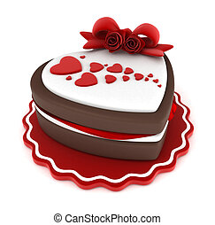 Valentine Cake - Illustration of a Heart-shaped Cake Adorned...
