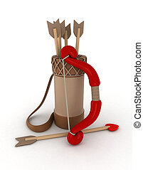 Bow and Arrow - 3D Illustration of a Bow and Couple of...