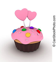 Valentine Cupcake - Illustration of a Cupcake Topped with...