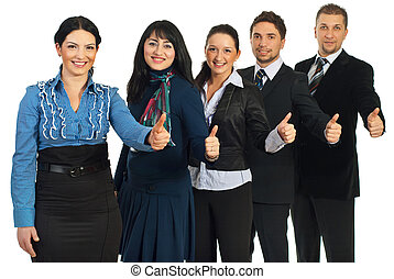 Successful business people gives thumbs - Successful team of...