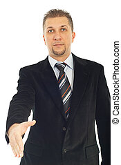 Handsome business man give hand for shaking or welcome you...