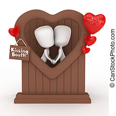 Kissing Booth - 3D Illustration of a Man and Woman in a...