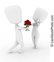 Man Giving Flowers - 3D Illustration of a Man Giving His...