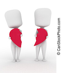 Couple Split - 3D Illustration of a Man and Woman Holding...