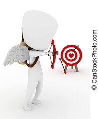 Target Shooting - 3D Illustration of a Cupid Target Shooting