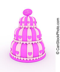 Valentine Cake - 3D Illustration of a Three-Layered Cake...
