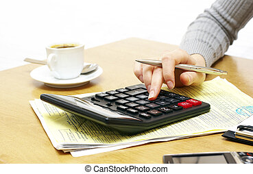 pen and calculator - Business concept with pen and...